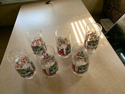 Vintage Coca-Cola North Pole Train Christmas glasses Set of 6