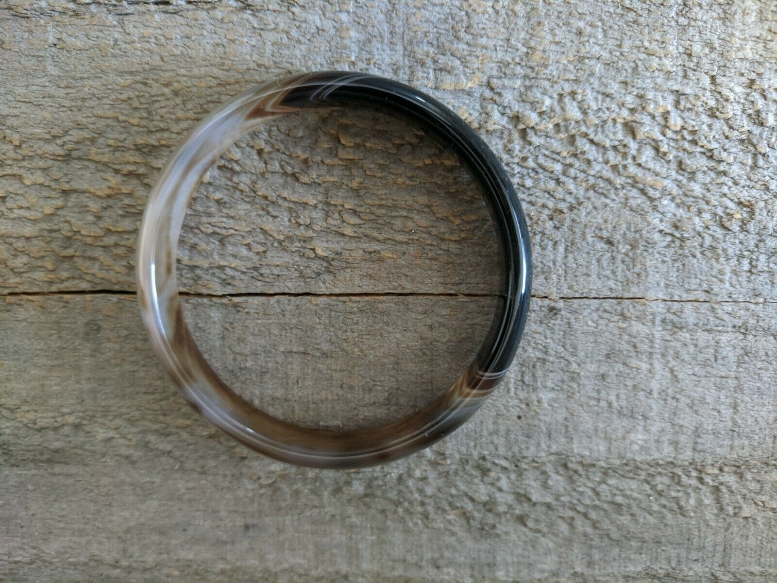 Natural Agate Stone Bangle Bracelet For Very Small Wrist 2.25 Diameter - $8.99