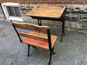 Early 1900s wood desk and seat