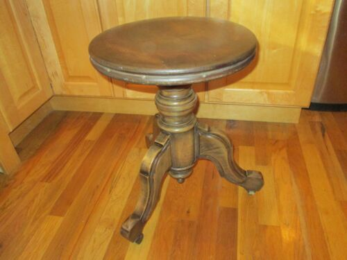 original antique Victorian adjustable piano stool swivel chair wood casters