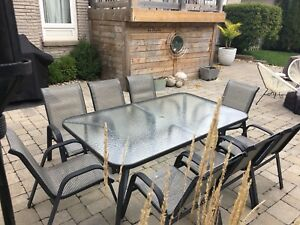 Black Framed Glass Top Patio Table & Chairs