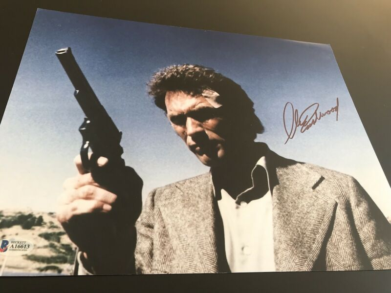 CLINT EASTWOOD SIGNED AUTOGRAPH 11x14 PHOTO DIRTY HARRY ACTION BECKETT BAS X3