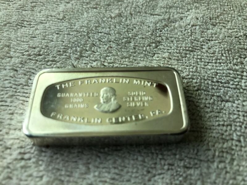1000 Grain Franklin Mint Silver Bar Wilmington Delaware.