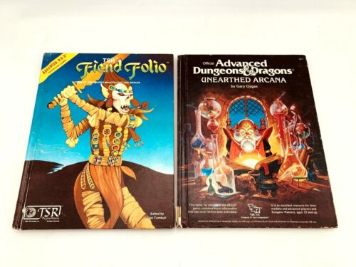Advanced Dungeons and Dragons Lot of 2 Fiend Folio + Unearthed Arcana *Damaged*