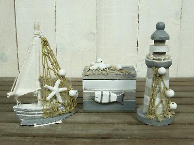 3tlg. Deko-Set: Leuchtturm, Truhe & Boot für die maritime Dekoration grau/weiß
