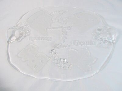 """Studio Nova Normandy Oval Glass Cheese Platter Clear Frosted 16 1/4"""" Germany"""