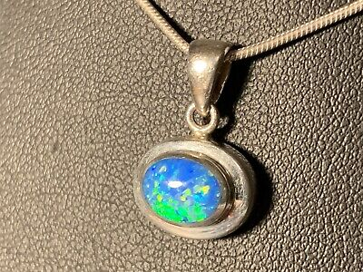 Sterling Silver Oval Cut Lab Made Blue/Green Hues Opal Pendant 1.8g Lab Opal Pendant