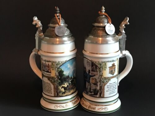 Set of 2 - 500 Jahre Post Edition 1990 German Beer Stein - Rastal W/ Lids