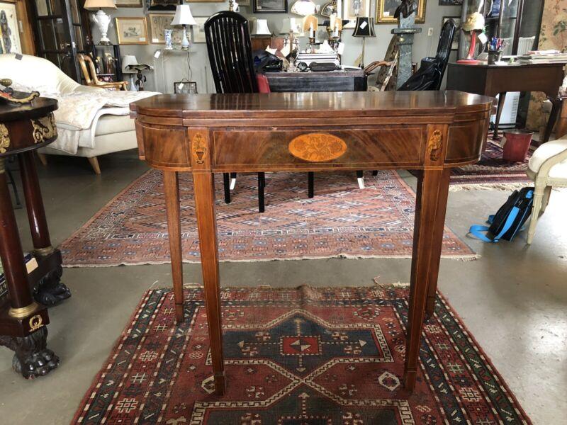 Circa 1780 American Hepplewhite Inlayed Mahogany Game Table
