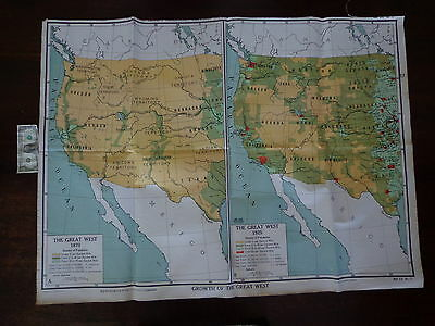 VINTAGE Large A J NYSTROM Educational School Wall Map GROWTH GREAT WEST 3' by 4'