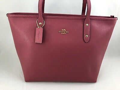 New Authentic Coach F58846 City Zip Tote Handbag Purse Bag Strawberry Red Pink