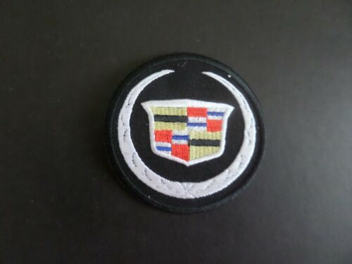 """CADILLAC"""" BLACK & WHITE EMBROIDERED IRON ON PATCHES 2-7/8 X 2-7/8"""