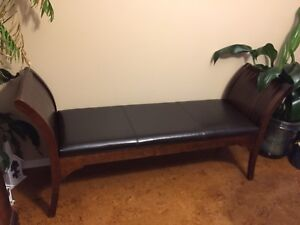 Faux leather wood bench