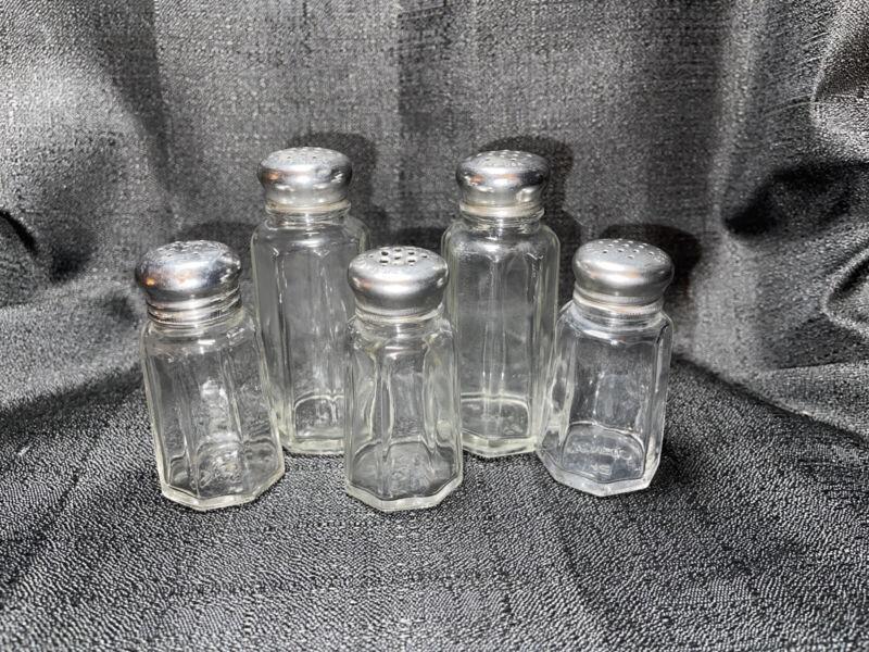 Vintage Stainless Steel & Glass Salt & Pepper Shakers Set 5 Cut Octagon Design