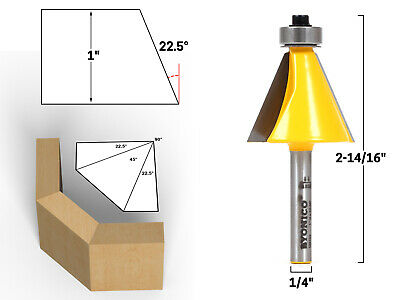 22.5 Degree Chamfer Edge Forming Router Bit - 1/4