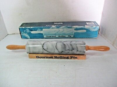 GOURMET ROLLING PIN - MARBLE with Wooden Rack & Handles in Original Box Rolling Pin Rack