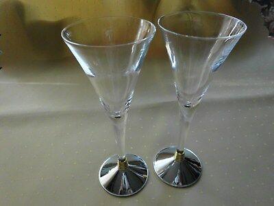 2 Sektflöten von A.E.P. ZINC Italy Design signiert Glasfuß versilbert 20 H RAR