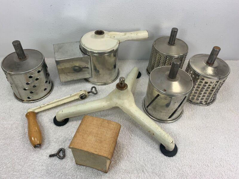 Vintage Antique West Germany Hand Crank Food Slicer Dicer Processor White Decor