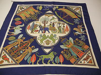 Hermes Blue Persepolis Silk Scarf Sophie K Classic rare carre authentic vintage