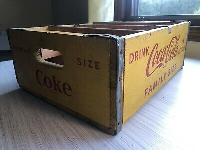 Rare Coca-Cola Crate, Family Size Yellow W/ Red Lettering 12 Slots