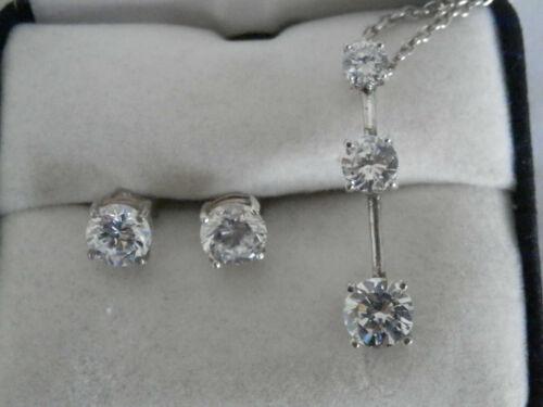 Sterling Silver Pendant Chain Earrings Cubic Zircon All in Original Box Vintage
