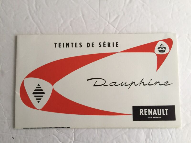 Vintage 1958 Renault Dauphine Paint And Colir Upholstery Auto Brochure