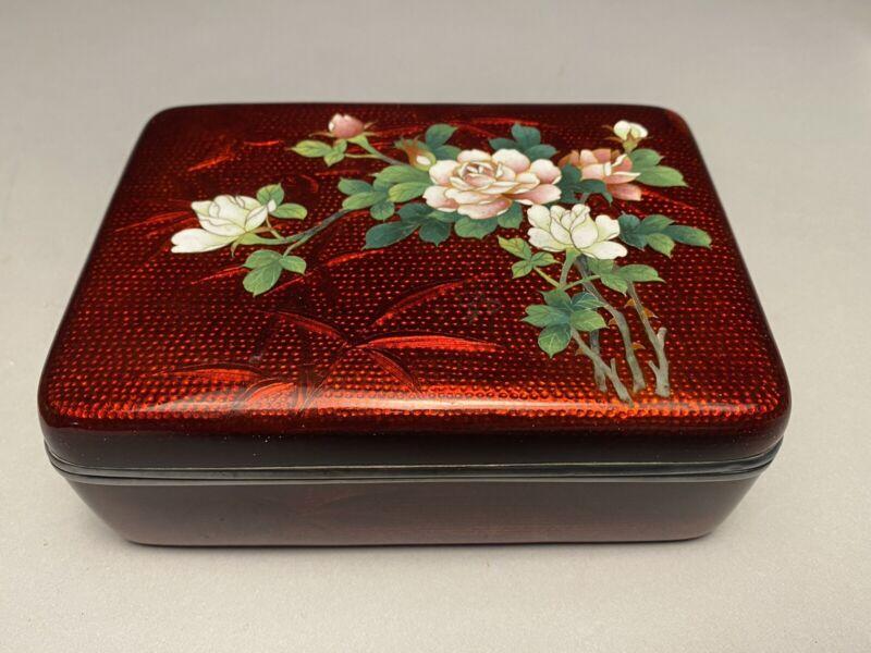 Vintage Scarce Pigeon Blood Red Ginbari Cloisonne Box