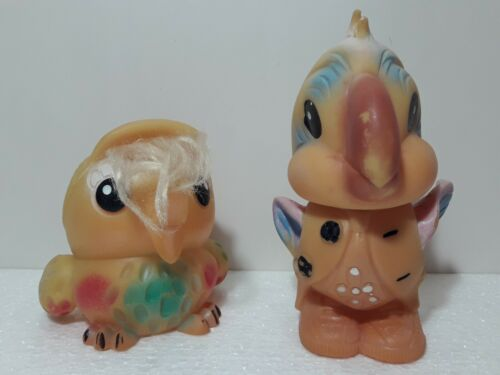 Soviet Vintage Rubber Toys Original USSR. Parrot and Bird
