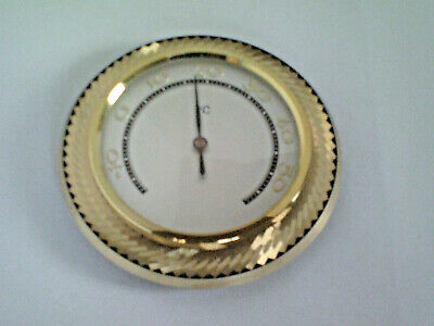 Antique Vintage 1950s Thermometer, Brass, scale silver plated 3.54 inch, Celsius