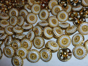 30 x Dainty Gold / Pearl Look 12mm Shank Back Buttons ( MB19F )