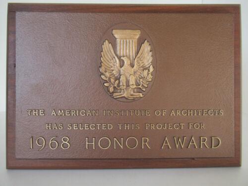 American Institute of Architects 1968 Bronze award plaque