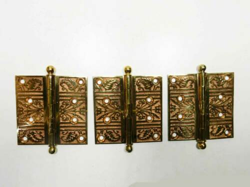 "Antique Victorian 4"" x 4"" Cast Bronze Ornate Door Hinges, Ball Tip, Set of 3"