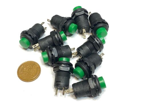 10  x Green 12mm Momentary ON/OFF Push Button Round SPST Switch B11