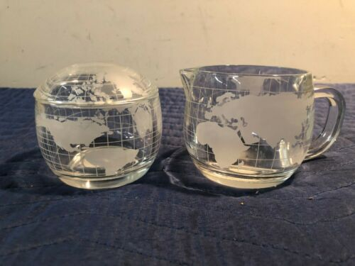 Vintage 1970s Nestle Nescafe Clear Etched Glass World Globe Sugar & Creamer Set