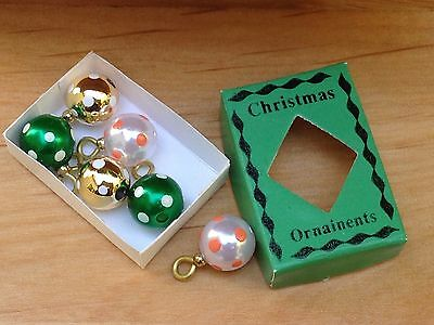 Miniature Dollhouse FAIRY GARDEN ~ Tiny Box of CHRISTMAS Ornaments Green ~ NEW