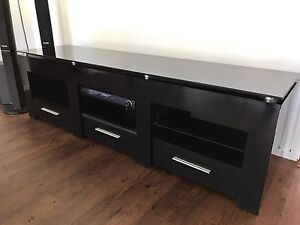 Black timber and glass tv cabinet $150 Middle Dural The Hills District Preview