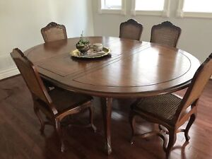 Beautiful French solid wood dining table set