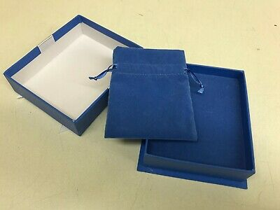 Lot 48 Earring Bracelet Retail Jewelry Gift Box Blue Paper Velvet Bag Wholesale