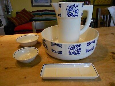 Vintage French Badonviller Pottery Toilet Jug and Bowl Blue/White