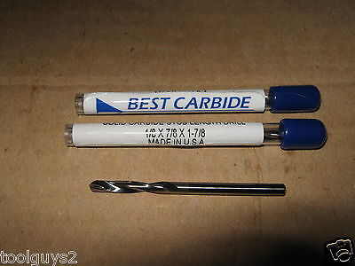 "1/8""(.1250)SOLID CARBIDE 15DEG HELIX 135DEG SPLIT PT SCREW MACH DR BIT LOT of 3"
