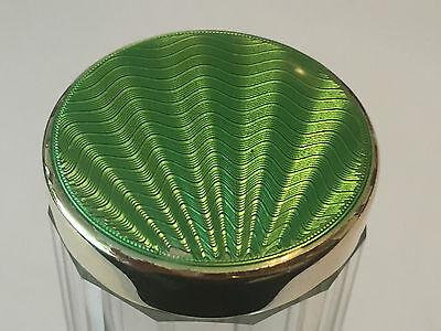 Silver hallmarked Green Guilloche enamel topped glass jar