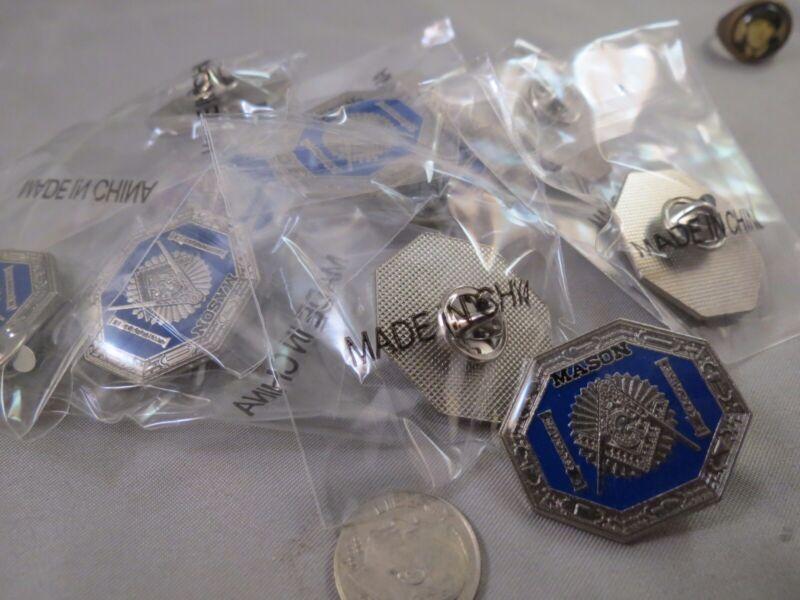 WHOLESALE LOT 12 FREEMASON MASON MASONIC PINS SILVER BLUE LAPEL PINBACK TIE TACK