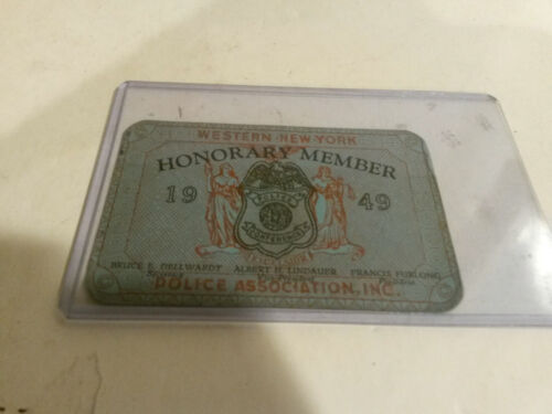 Western New York Honorary member Police Association card 1949