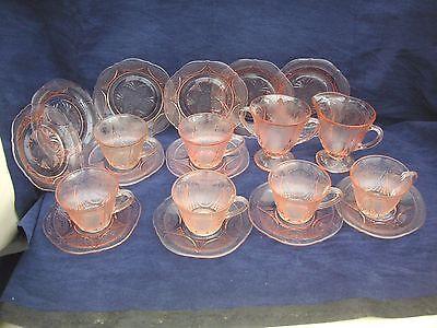 Vintage Depression Glass 20 pieces tea set  Pink, ROYAL LACE by Hazel Atlas