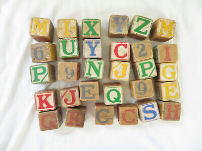 Vintage Wooden Blocks ABC Alphabet Numbers 123 - 30 Blocks