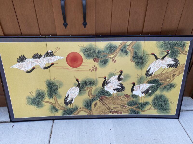 "New 72""x35"" Oriental Asian Folding Screen 4 Panels Cranes Art-Beautiful Colors"