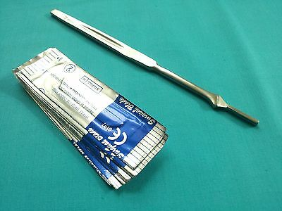 NEW STAINLESS STEEL SCALPEL KNIFE HANDLE #7 + 10 SURGICAL STERILE BLADES #11  Stainless Steel Surgical Blade
