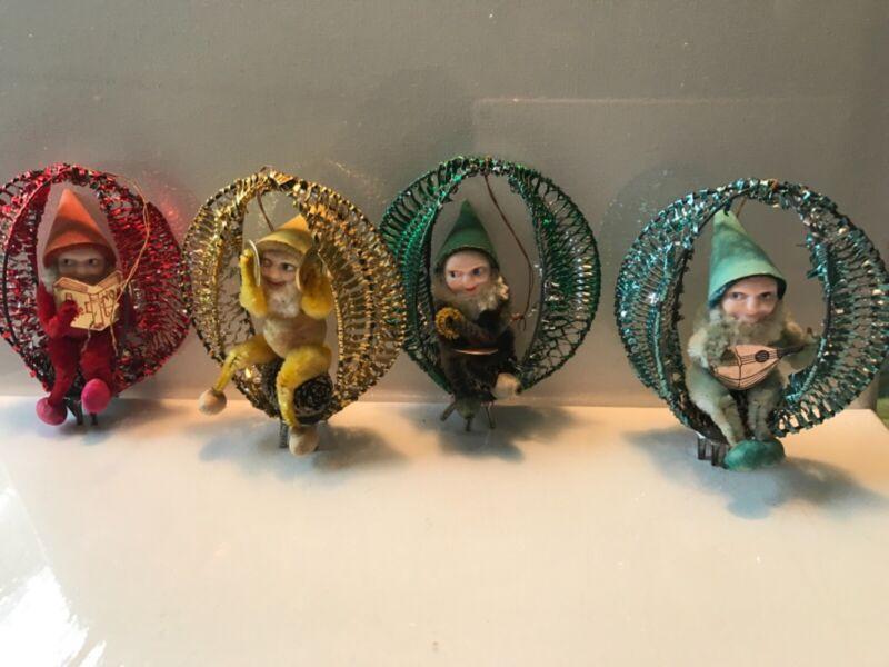 Vintage Shiny Brite Pixie Elfs Christmas Ornaments o Chenille Japan Rare EUC