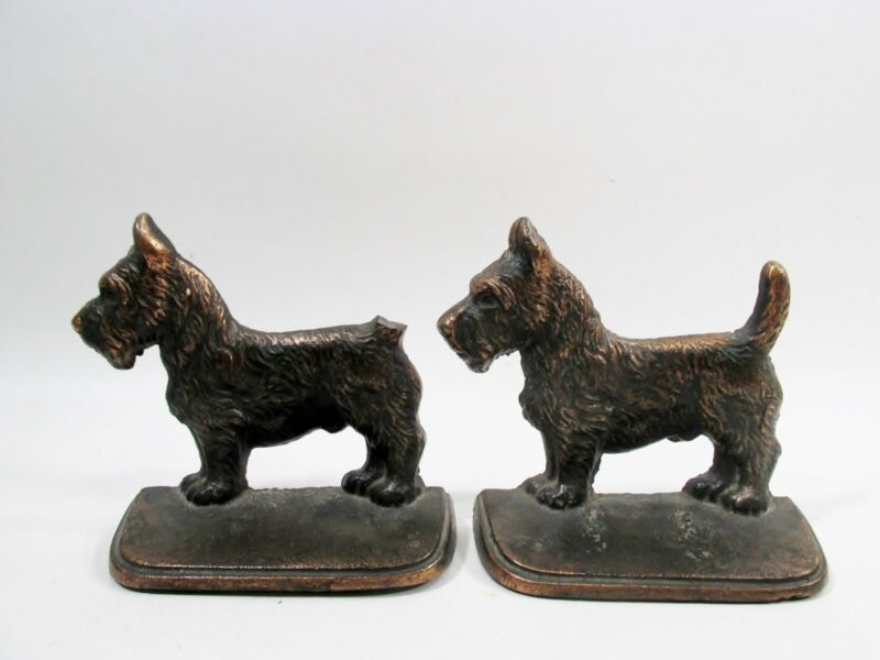 Pair Old CAST IRON Scottish Scotch Terrier Dog BOOKENDS Copper Tone Surface