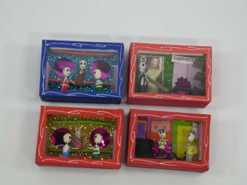 4 SHADOW BOX SET day of the dead nicho lot wholesale mexican handmade folk art